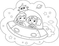 Cartoon Spaceship stock photography