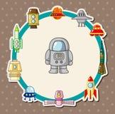 Cartoon spaceship card Royalty Free Stock Image