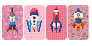 Cartoon spaceship card Stock Images