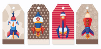 Cartoon spaceship card Royalty Free Stock Photos