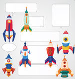 Cartoon spaceship card Royalty Free Stock Photo