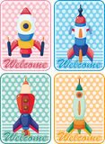 Cartoon spaceship card Royalty Free Stock Image