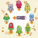 Cartoon spaceship card Royalty Free Stock Photography