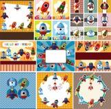 Cartoon spaceship card Royalty Free Stock Images