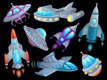 Cartoon spaceship. Futuristic space rocket vehicles, alien flight spacecraft ship ufo and aerospace rocketship isolated. Cartoon spaceship. Futuristic space vector illustration