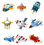 Cartoon spaceship icon set. Drawing Royalty Free Stock Images