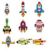 Cartoon spaceship icon set. Drawing Stock Photos