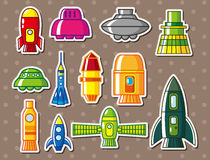 Cartoon spaceship stickers. Vector,illustration Royalty Free Stock Images