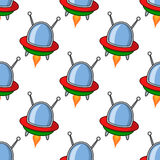 Cartoon Spaceship Ufo Seamless Pattern Royalty Free Stock Photography