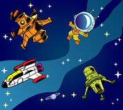 Cartoon spaceships. The illustration shows several types of spacecraft and one astronaut on a background of blue sky and stars. Illustration done in cartoon stock illustration