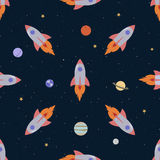 Cartoon spaceships seamless background. Cute cartoon spaceships seamless background Stock Photos