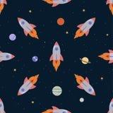 Cartoon spaceships seamless background Stock Photos