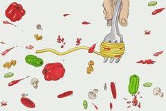 Cartoon spaghetti eat Stock Image