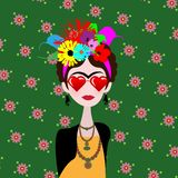 Caricature of artist Frida with heart glasses. Mexican woman artist with hairstyle and flowers in flat style. Vector portrait. Caricature of artist Frida with royalty free illustration