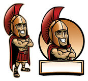 Cartoon of spartan army pose and smiling Stock Photo