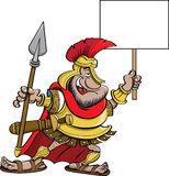 Cartoon Spartan holding a sign Royalty Free Stock Image