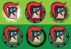 Cartoon spartan warrior profile with helmet Royalty Free Stock Photo