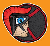 Cartoon spartan warrior profile with helmet and shield Royalty Free Stock Images