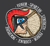 Cartoon spartan warrior profile with helmet and shield Royalty Free Stock Image