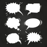 Cartoon speech balloons collection on chalkboard vector illustration