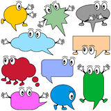 Cartoon Speech Bubbles. Collection of ten colorful and funny speech bubbles characters, isolated on white background. Useful also for educational or preschool vector illustration