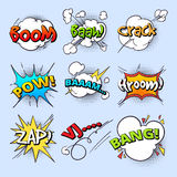 Cartoon speech bubbles, explode bang sound with comic text elements vector collection Royalty Free Stock Photo