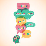 Cartoon speech bubbles with owl. Different sizes and forms. Stock Images