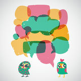 Cartoon speech bubbles with owls. Different sizes and forms. Royalty Free Stock Photo