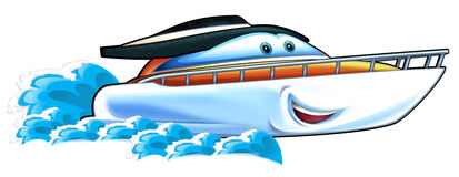 Cartoon speed boat. Beautiful and colorful illustration for the children Royalty Free Stock Image