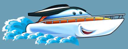 Cartoon speed boat. Beautiful and colorful illustration for the children Stock Images