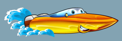 Cartoon speed boat Royalty Free Stock Images