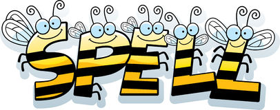 Cartoon Spell Text. A cartoon illustration of the text Spell with a bee theme Royalty Free Stock Photos