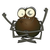 Cartoon Spider with Big Eyes. Funny cartoon spider with big eyes in a yoga mudra hand pose Stock Photography
