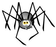 Cartoon Spider Clip Art. A clip art illustration of a cartoon spider in grey and black with a smile Stock Image