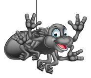 Cartoon Spider. A happy cute cartoon spider hanging from its web and waving Royalty Free Stock Photography
