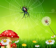 Cartoon spider with nature background Royalty Free Stock Photo