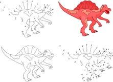 Cartoon Spinosaurus. Vector illustration. Coloring and dot to do Stock Photos