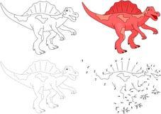 Cartoon Spinosaurus. Vector illustration. Dot to dot game Stock Photo