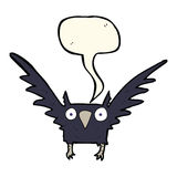 Cartoon spooky bird with speech bubble Stock Images