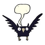 Cartoon spooky bird with speech bubble Royalty Free Stock Photos