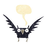 Cartoon spooky bird with speech bubble Royalty Free Stock Images