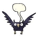 Cartoon spooky bird with speech bubble Royalty Free Stock Photography