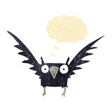 Cartoon spooky bird with thought bubble Royalty Free Stock Photos