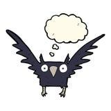 Cartoon spooky bird with thought bubble Royalty Free Stock Photos