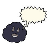 Cartoon spooky cloud with speech bubble Royalty Free Stock Photo