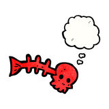 Cartoon spooky fish bones. Retro cartoon with texture. Isolated on White Stock Photography