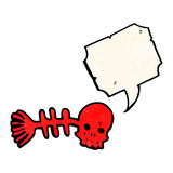 Cartoon spooky fish bones symbol with speech bubble. Retro cartoon with texture. Isolated on White Stock Images