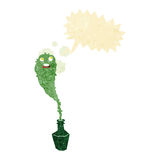 cartoon spooky ghost in bottle with speech bubble Stock Images