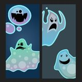 Cartoon spooky ghost character scary cards monster costume evil silhouette creepy phantom spectre apparition vector Royalty Free Stock Photography