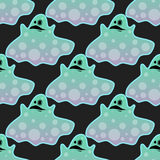 Cartoon spooky ghost character scary holiday monster costume evil seamless pattern creepy phantom spectre apparition Stock Photo